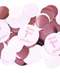 confettis 1er anniv rose