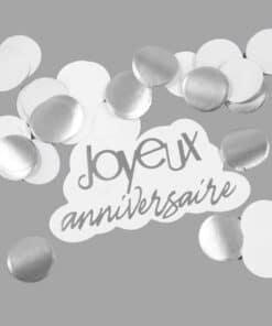 confettis joyeux anniversaire Argenté