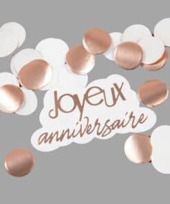 confettis joyeux anniversaire Rose Gold
