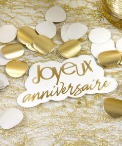 confettis or joyeux anniversaire or doré