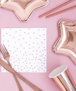 serviettes blanc à pois rose gold