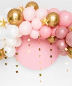 Arche ballons rose et or