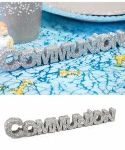 Decoration de table communion argent