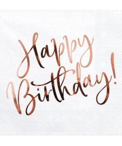 Serviette Happy Birthday Rose gold