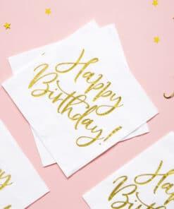 serviette anniversaire blanc et or